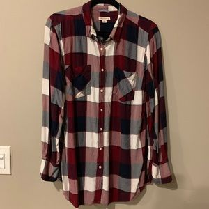 Long Plaid Button-down Shirt Size XXL